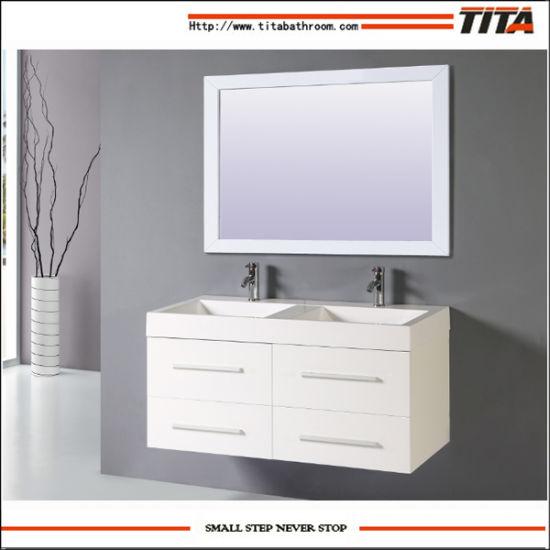 Freestanding Double Sink Mdf Veneer Melamine Bathroom Vanity Cabinets