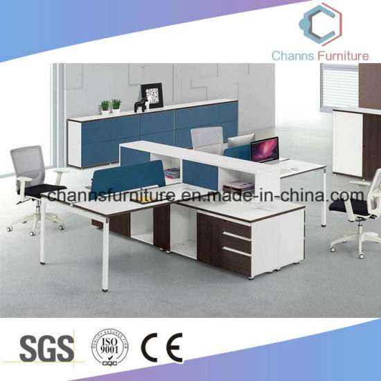 Modern Wooden Workstation Computer Table Cubicle With Cabinet