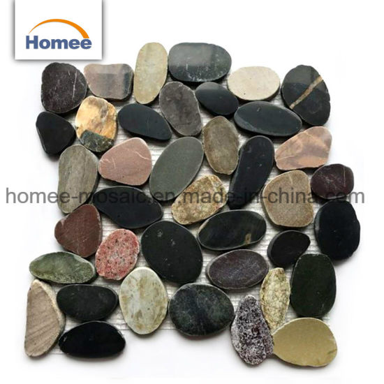 China Mix Color Sliced Cheap Outdoor Floor Tiles Pebble Stone Mosaic