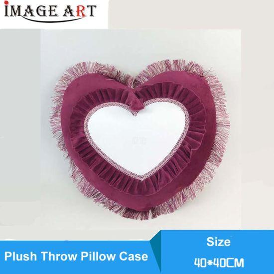 Heart Shape European Deerskin Plush Pillow Case for Sublimation Printing