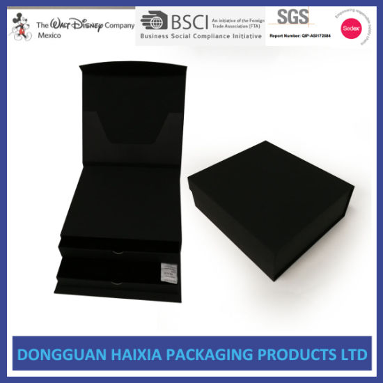 Luxury Rigid Drawer Packaging Box with Black Touch Paper Wrapped pictures & photos