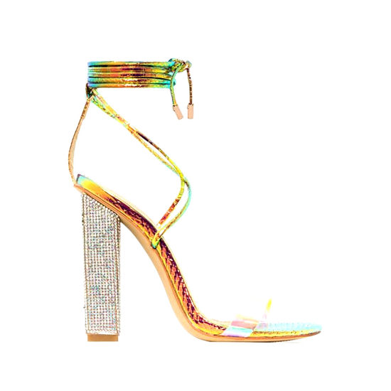 Snake Clear Lace up Diamond Block Heels Women Sandals Ladies Shoes