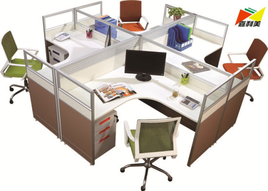 Modern Office Workstation Computer Desk For 4 Person