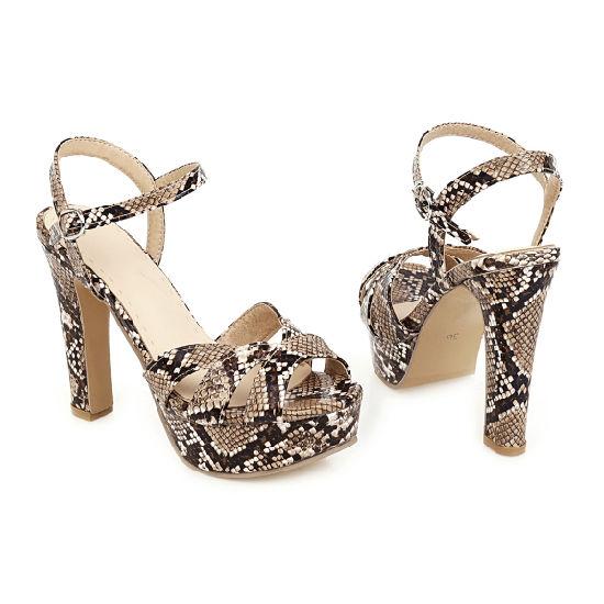 Women Sandals Ladies Platform Wedge Snakeskin Summer Chunky Heel Shoes