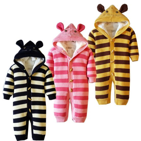 Winter Clothing Stripe Series Cute Thicker Baby Jumpsuit