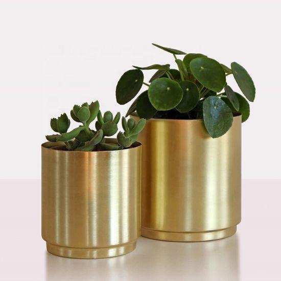 "Brass Metal Planter (10"", 8"" or 6"" & 5"" Set) - Large Indoor Plant Pot for House Plants (Gold)"