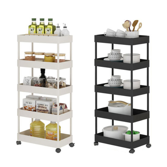 5 Tiers Plastic Storage Cart Organizer Bathroom Kitchen Drainer Storage Trolley with Basket with ABS Plastic Basket