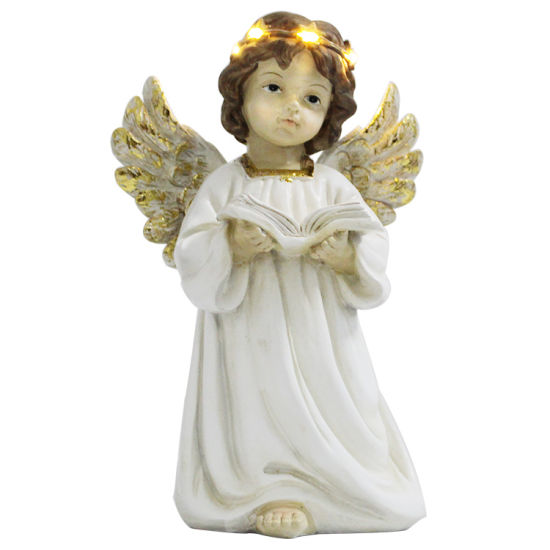 Home Indoor LED Decor Resin Wing Polyresin Miniature Angel Figurine with Book