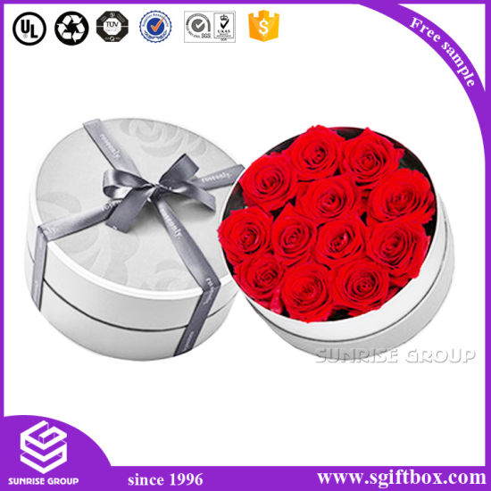 Elegant Packaging Gift Rose Flower Paper Round Box pictures & photos