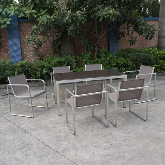 Metal Stainless Steel Aluminumm Balcony Courtyard Cafe Leisure Outdoor Dining Furniture PE Rattan Table and Chairs