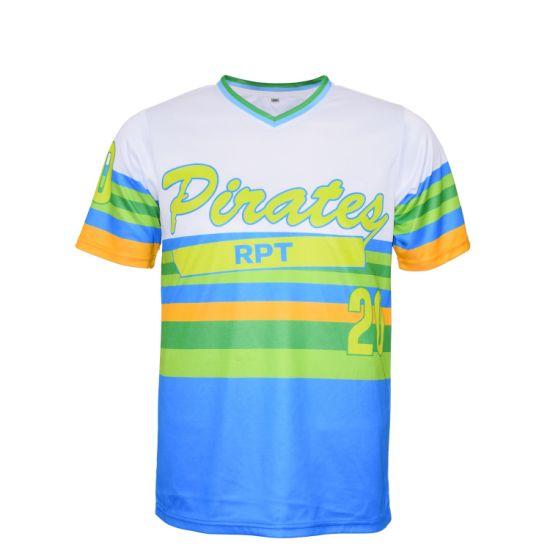 cdc1b05f1 2019 Wholesale Custom Made Sublimation Team Short Sleeve Stripe Softball Jersey  Shirts  Baseball Jersey