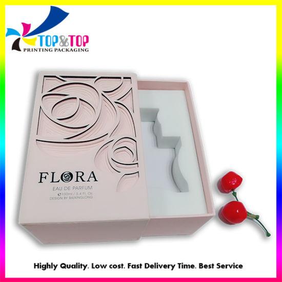 China Manufacturer Pink Flower Laser Cut Gift Box Cardboard