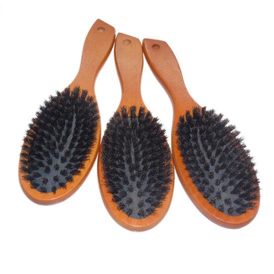 Brown Wooden Handle Paddle Brush, 100% Natural Boar Bristle Hair Brush