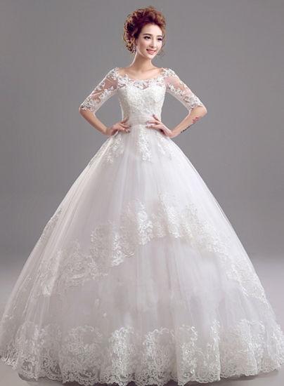MID-Sleeve Deep V-Neck See-Through Sheer-Back Mermaid Gown Wedding Dress (Dream-100003)