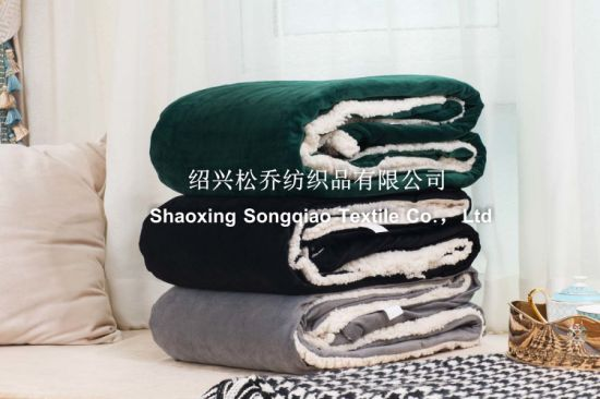 Sherpa Fleece Blankets / Mink with Shu Velveteen Blanket /Custom Blanket-Black pictures & photos