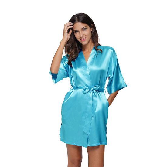 Women Satin Short Kimono Solid Color Dressing Gown Bridal Party Robe