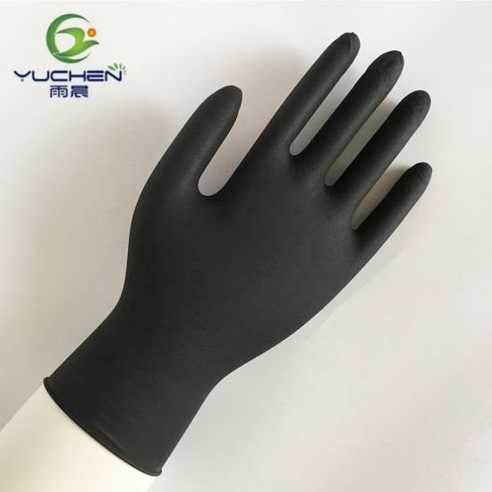 High Quality Five Finger Disposable Black Nitrile Glove pictures & photos