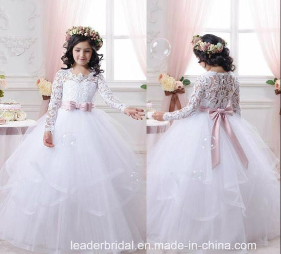 5871dd46495 A-Line Flower Girls Dresses White Pink Junior Bridesmaid Gown Z1049  pictures   photos