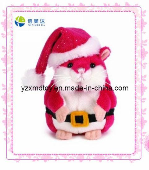 China Plush Christmas Mouse With Santa Hat Toy Xmd 0096c China