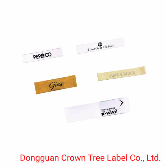 Pepco Brand Name Logo Woven Label with End Fold for Neck Part