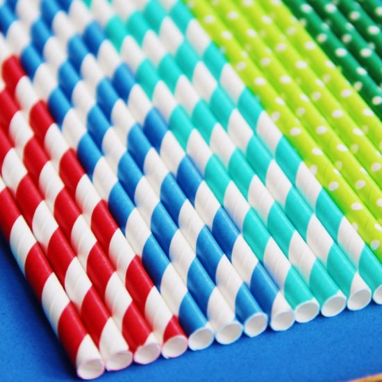 Biodegradable Eco Friendly Strip Colors Printing Paper Straws pictures & photos