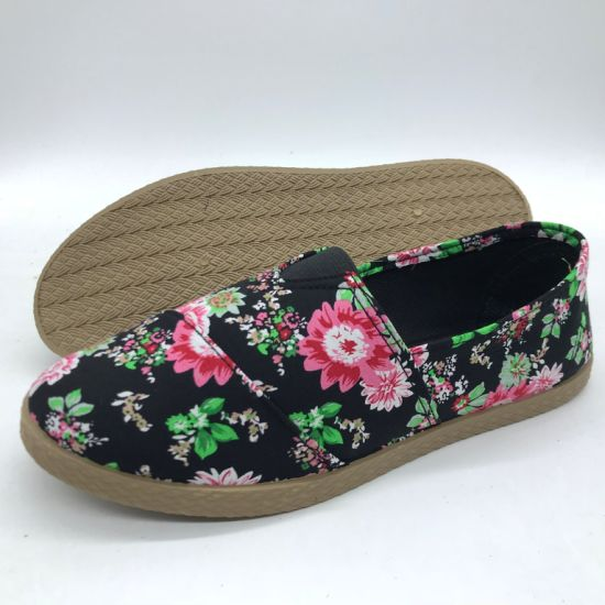Fashion Lady's Injection Flat Shoes Casual Canvas Shoes (Zl180731-9)
