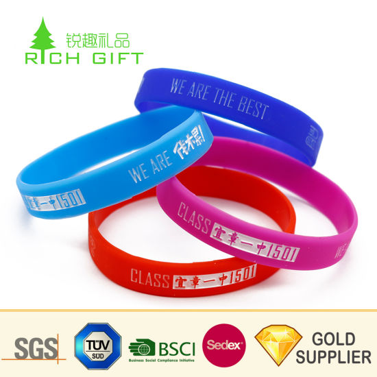 ae703813776e2 Factory Direct Sale Custom Dye Sublimation Imprinted Funny Silicone Rubber  Wristband Bracelets