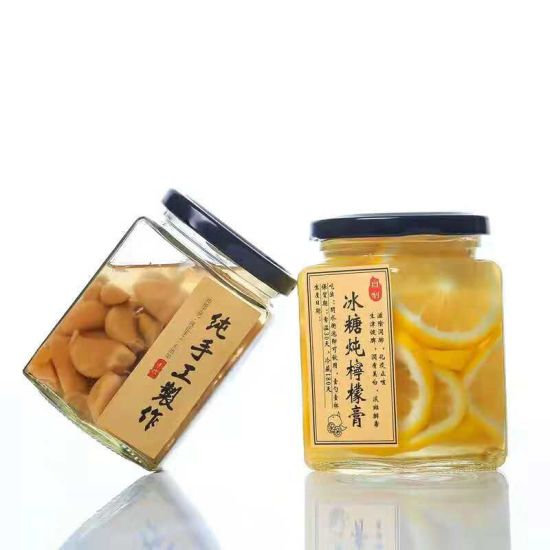 Wholesale Honey Jar Hexagonal Honey Glass Jar with Screw Top Cap