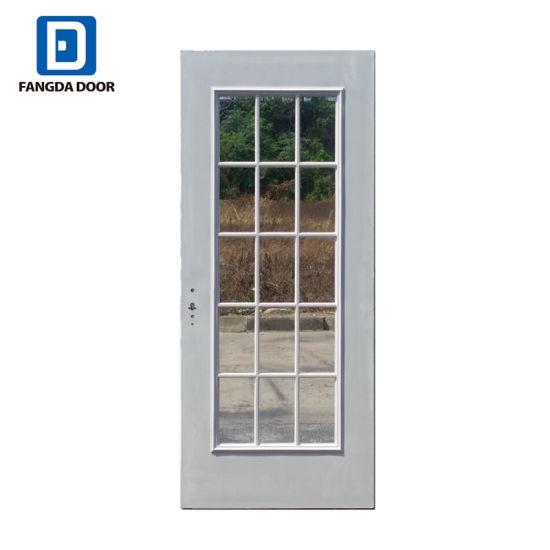 China Full Lite Glass Balcony Wooden Design Steel Patio Door With