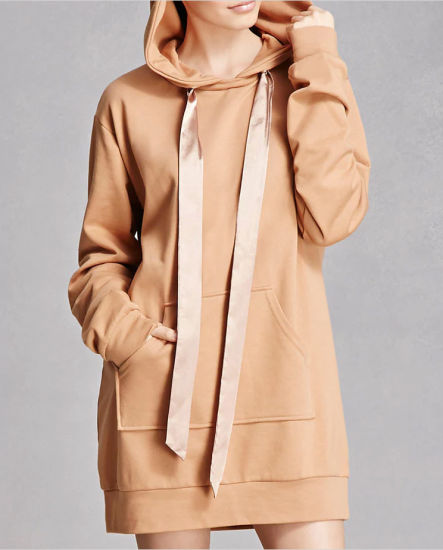 Oversized Custom Womens 100% Cotton Plain Pullover Hoodie Dress in Camel