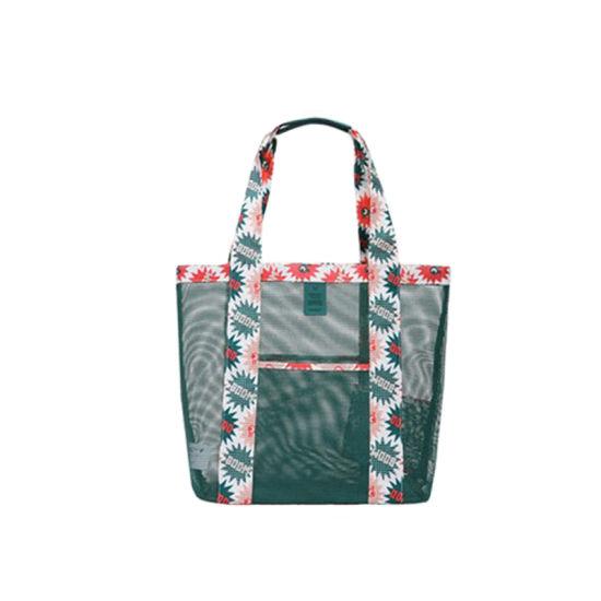 Wholesale Custom Lightweight Zipper Tote Grocery Shopping Shoulder Bag Waterproof Stadium Foldable Travel Gym Picnic Nylon Mesh Beach Bag