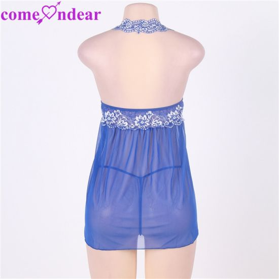 e5504300b China Wholesale Cheap Halter Paypal Accepted Blue Floral Women Sexy Babydoll  ...
