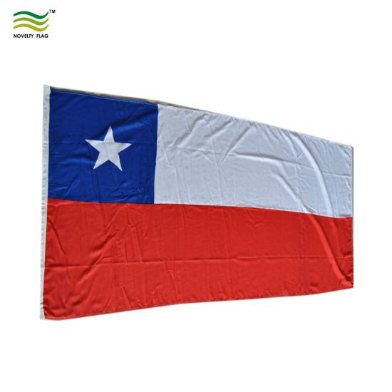 china 90x180cm 160gsm spun polyester chile flag china chile flag