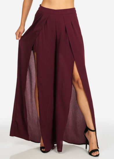 Lightweight High Waist Burgundy Elastic Sexy Front Slits Pant