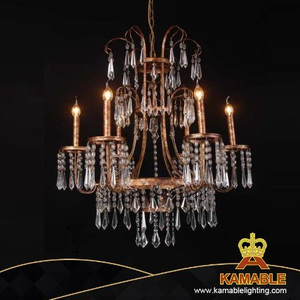 Classical Antique Gold Candles Crystal Pendant Lamps (GD9066-6)