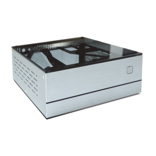 "Vesa A01 Aluminum Steel Tempered Glass Desktop Mini-Itx Computer Chassis Case with 2.5""&3.5"" Hard Drive Bay"