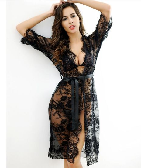 Wholesale Sheer Lace Robe Set Femme Sexy