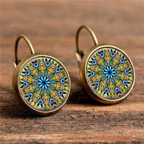 Flower Fashion Drop Earrings Girl Gift Round Earings Vintage Jewelry