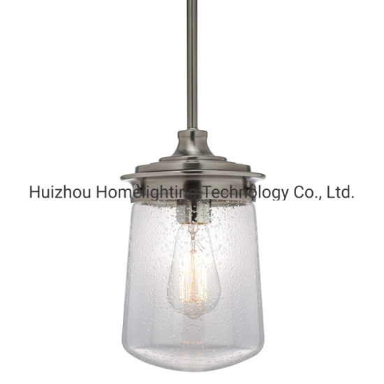Jlc-8020 Industrial Adjustable Height Pendant Light Lamp with Seeded Glass Shade