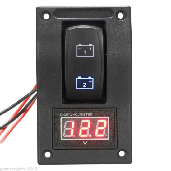 DC12V Car LED Digital Voltmeter Dual Battery Test Panel Rocker Switch on-off-on pictures & photos