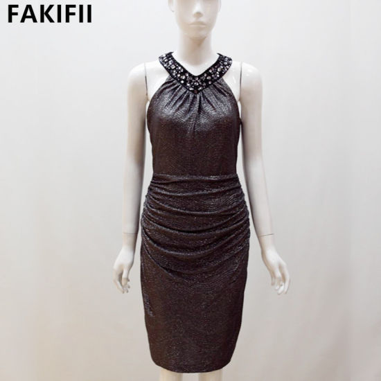 2021 Sexy Fashion Bodycon Short Black Party Dress for Ladies