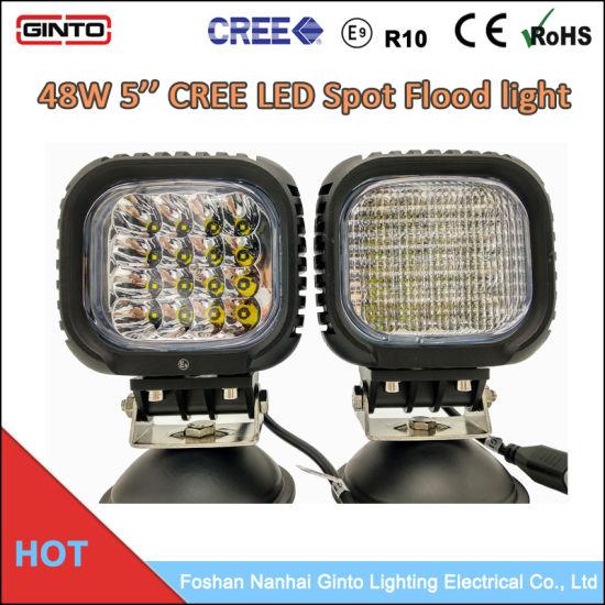 E-MARK R10 EMC 48W 4'' CREE Spot Flood LED Work Light for Truck