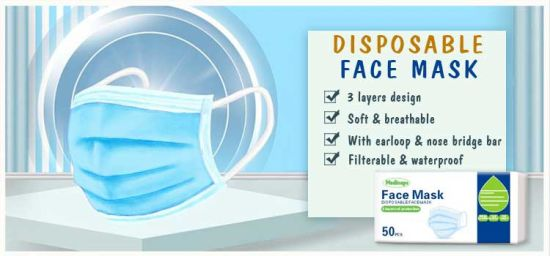 Surgical Disposable 3-Ply Non-Woven Medical Face Mask with Ear Loop