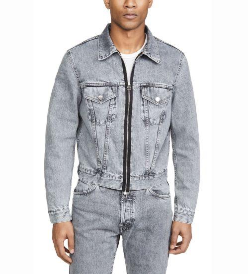 Wholesale Custom New Designs Mens Denim Jeans Jackets Two-Way Separating Zip 100%Cotton