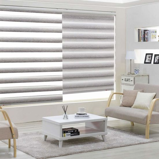 Zebra Dual Sheer Water Proof Fabric Window Roller Shades Blinds Control Light