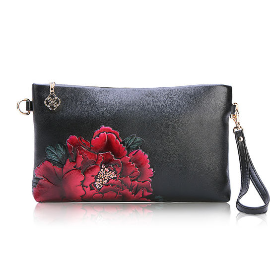 New China Style Flower Leather Handbag Painted Women Wallet pictures & photos