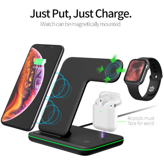 Mobile Phone Accessory 3 in 1 Smart Fast Qi Wireless Charger for iPhone Samsung Xiaomi Huawei