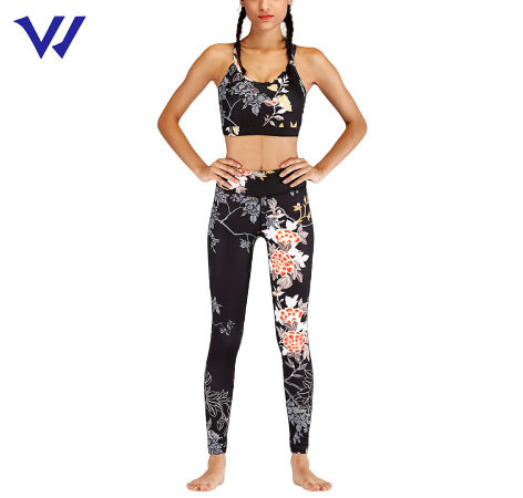 Quick Dry Print Crop Bra and Yoga Leggings Set Fitness Gym Wear Sublimation Sports Yoga Set