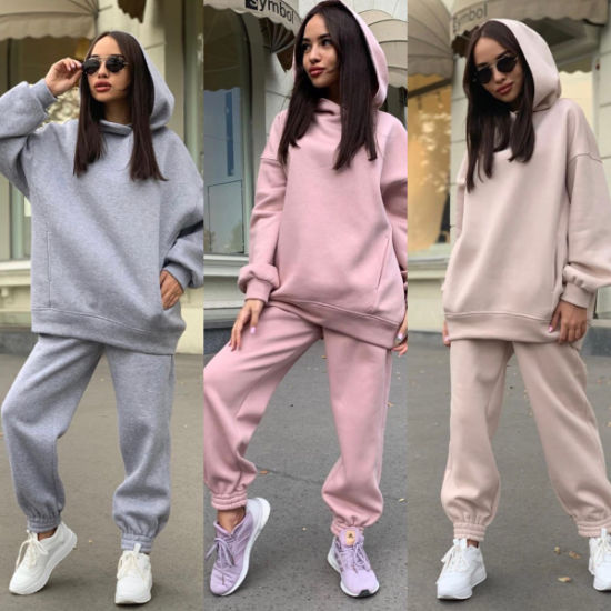 Woman Cute Oversized Two Piece Crop Graphic Custom Logo Woman Sweatshirt Fitness Workout Long Outfit Hoodies
