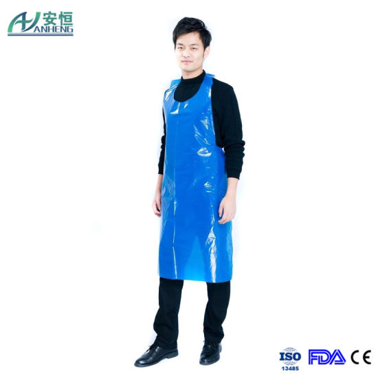 High Quality Blue Disposable PE Coated Polypropylene Apron pictures & photos